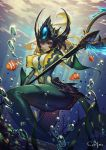 1girl artist_name blonde_hair breasts bubble center_opening clownfish fish_girl forehead_jewel green_skin helmet highres large_breasts league_of_legends mermaid monster_girl nami_(league_of_legends) red_eyes see_you smile solo staff underwater
