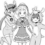 3girls :3 absurdres animal_costume antlers arm_up bell bow creatures_(company) dark_skin dress flower fur_trim game_freak greyscale hair_flower hair_ornament hairband hat highres hood hood_up lillie_(pokemon) long_hair mao_(pokemon) monochrome multiple_girls nintendo open_mouth pokemon pokemon_(game) pokemon_sm pom_pom_(clothes) reindeer_antlers reindeer_costume santa_costume santa_hat simple_background suiren_(pokemon) trial_captain twintails white_background ziburikito