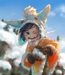 1boy animal_hat blue_eyes blue_hair blush buttons ehdogreen eyebrows_visible_through_hair gloves hat highres holding league_of_legends looking_to_the_side missing_tooth nunu open_mouth pine_tree rock signature smile snow snowball solo tree winter_clothes