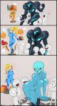 ... 2girls 3koma blonde_hair breasts clone comic crowd dark_samus highres long_hair metroid metroid_prime mole multiple_girls nintendo ponytail pose power_armor samus_aran shadman skeleton spoken_ellipsis super_smash_bros. surprised