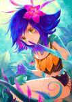 1girl blue_hair flower frog grass hair_flower hair_ornament highres index_finger_raised jewelry leaf league_of_legends midriff miniskirt mootie necklace neeko_(league_of_legends) outdoors skirt strap_slip tank_top yellow_eyes