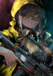 1girl aamond absurdres girls_frontline gun heterochromia highres jacket looking_at_viewer orange_eyes ro635_(girls_frontline) submachine_gun sweater_vest weapon yellow_eyes