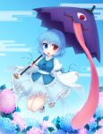 adapted_costume bangs blue_eyes blue_hair blue_skirt blue_vest commentary_request flower geta heterochromia highres holding holding_umbrella karakasa_obake leaf miruki no_socks red_eyes short_hair skirt tatara_kogasa tongue touhou umbrella vest
