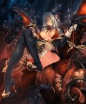1girl beast_dominator black_legwear boots breasts cleavage frown gloves hair_between_eyes high_heels holding horns large_breasts legs legs_together long_hair looking_at_viewer looking_down monster night official_art pointy_ears shadowverse sidelocks silver_hair sitting sitting_on_object sleeve_cuffs thigh-highs thigh_boots thighs tsunekun whip wings yellow_eyes