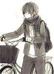 1boy anzu_(o6v6o) backpack bag bicycle bicycle_basket breath earphones earphones genderswap genderswap_(ftm) glasses ground_vehicle gumiya jacket male_focus monochrome mouth_hold pants plaid plaid_scarf scarf shirt simple_background solo vocaloid walking_bike white_background
