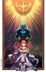 1boy 1girl alm_(fire_emblem) armor back cape celica_(fire_emblem) dress earrings fingerless_gloves fire_emblem fire_emblem_echoes:_mou_hitori_no_eiyuuou gloves green_hair headband highres jewelry long_hair looking_at_viewer nintendo open_mouth red_eyes redhead sad sh06512223 short_hair simple_background thigh-highs tiara