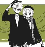 1boy 1girl :o adjusting_clothes adjusting_hat anzu_(o6v6o) bangs beret cardigan dual_persona fedora genderswap genderswap_(ftm) glasses green_background gumi gumiya hand_holding hat hetero high_contrast long_sleeves looking_at_viewer multiple_monochrome pants scarf selfcest short_hair_with_long_locks skirt skirt_hold striped striped_scarf tangle thread vertical-striped_pants vertical_stripes vocaloid