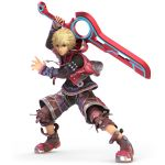 1boy absurdres blonde_hair blue_eyes full_body highres jacker male_focus monado nintendo official_art short_hair shulk simple_background solo super_smash_bros. super_smash_bros._ultimate sword weapon xenoblade_(series) xenoblade_1