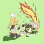 1boy 1girl 2018 anniversary arched_back belt birthday_cake blonde_hair blue_eyes bow breathing_fire brother_and_sister cake covering_mouth detached_sleeves eating fire food fork hair_bow hair_ornament hairclip happy_birthday headphones headset highres hot_sauce kagamine_len kagamine_rin kneeling leg_warmers midriff motion_blur motion_lines navel necktie pain plate pocket prank rindo sailor_collar short_hair short_ponytail shorts siblings smile spicy twins vocaloid