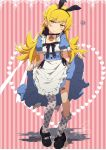 1girl absurdres animal_ears bandaid blonde_hair blush_stickers choker commentary_request dress dress_lift fang_out floral_print highres long_hair looking_at_viewer mary_janes monogatari_(series) ogipote oshino_shinobu rabbit_ears shoes signature single_shoe solo thigh-highs yellow_eyes