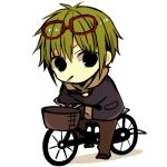 1boy anzu_(o6v6o) bicycle bicycle_basket black_pants chibi crossed_arms eyewear_on_head full_body genderswap genderswap_(ftm) glasses green_hair grey_hoodie ground_vehicle gumiya hood hoodie jacket lowres male_focus mouth_hold navy_blue_jacket pants red-framed_eyewear solo vocaloid white_background