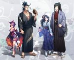 2boys 2girls abs animal_ears bandage bandaged_leg bandages bangs bare_shoulders black_hair black_kimono blue_eyes blue_skirt breasts cat_ears cat_girl cat_tail cleavage couple elyoncat facial_hair facial_mark female_saniwa_(touken_ranbu) flame_print geta gourd grin hair_over_one_eye hand_holding haori height_difference highres japanese_clothes kimono korean_clothes large_breasts long_hair long_sleeves looking_at_another looking_at_viewer multiple_boys multiple_girls muscle nihongou_(touken_ranbu) obi parted_lips purple_hair sash short_kimono skirt smile standing stubble swept_bangs tabi tail tarou_tachi toenail_polish touken_ranbu traditional_clothes very_long_hair wide_sleeves yellow_eyes
