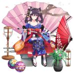 1girl animal_ears ashigara_(azur_lane) azur_lane bare_shoulders black_hair blush bow breasts cat_ears cleavage closed_mouth collarbone eyebrows_visible_through_hair flower full_body hair_flower hair_ornament holding holding_umbrella japanese_clothes kimono large_breasts looking_at_viewer medium_hair official_art oriental_umbrella red_bow red_eyes sandals sitting smile socks solo tetsujin_momoko transparent_background twintails umbrella white_legwear