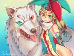 1girl animal breasts fur_collar green_eyes hat heterochromia jester jester_cap leotard long_hair looking_at_viewer mitake_eiru original oversized_animal red_eyes shiny shiny_skin signature small_breasts smile tongue tongue_out white_wolf wolf