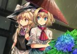 2girls alice_margatroid apron black_hat black_vest blonde_hair blue_eyes blue_flower blue_skirt bow braid capelet collared_shirt commentary_request eyebrows_visible_through_hair flower hair_between_eyes hair_bow hairband hat hat_bow highres holding holding_umbrella hydrangea kirisame_marisa long_hair mitsunara multiple_girls neck_ribbon outdoors purple_ribbon rain red_hairband red_neckwear ribbon shared_umbrella shirt short_hair side_braid skirt touhou umbrella vest waist_apron wet wet_clothes wet_shirt white_bow white_capelet white_shirt wing_collar witch_hat yellow_eyes