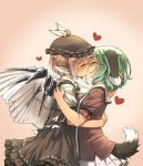 2girls animal_ears arm_around_neck beige_background bird_wings blush brown_dress brown_hair brown_hat brown_shirt closed_eyes dress from_side gradient gradient_background green_hair hand_on_another's_shoulder hat heart heavy_breathing highres hug kasodani_kyouko kiss miniskirt multiple_girls mystia_lorelei pleated_skirt puffy_short_sleeves puffy_sleeves shirt short_hair short_sleeves skirt sweat tail touhou white_shirt wings yudepii yuri