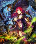 1girl breasts cygames garter_belt garter_straps gradient_hair hat holding lantern large_breasts long_hair looking_at_viewer multicolored_hair navel official_art outdoors pointy_ears purple_hair red_eyes redhead shadowverse solo thigh-highs two-tone_hair witch_hat yui_(niikyouzou)