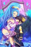 1boy 1girl angel_wings black_hair black_wings blue_hair dark_pit kid_icarus kid_icarus_uprising long_ponytail nintendo pandora_(kid_icarus) pink_eyes ponytail red_eyes wings