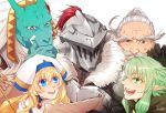 2girls 3boys armor beard blonde_hair blue_eyes blush commentary_request dwarf dwarf_(goblin_slayer) elf facial_hair fur_trim goblin_slayer goblin_slayer! green_eyes green_hair happy helmet high_elf_archer_(goblin_slayer!) kitta_(estrella) lizard_priest(goblin_slayer) long_hair multiple_boys multiple_girls open_mouth plume pointy_ears priestess_(goblin_slayer!) shiny shiny_hair shiny_skin simple_background smile white_background yellow_eyes