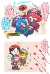 >_< 5girls ? adeleine bandage beret black_hair blonde_hair blue_eyes blue_hair blush chiimako closed_eyes comic covering_eyes fairy_wings flamberge_(kirby) food francisca_(kirby) gameplay_mechanics hair_ribbon hat healing health_bar heart hidden_mouth injury kirby:_star_allies kirby_(series) long_hair maxim_tomato multiple_girls nintendo open_mouth pink_hair red_ribbon redhead ribbon ribbon_(kirby) short_hair spoken_question_mark tears tomato translation_request wings yuri zan_partizanne