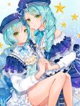 2girls alternate_hairstyle aqua_hair ascot back_bow bang_dream! bangs beret blue_bow blue_hat blue_ribbon bow braid brooch center_frills constellation_hair_ornament constellation_print double-breasted dress earrings ferrel_(rocher_71) frilled_dress frilled_shirt frilled_sleeves frills green_eyes hair_bow hair_over_shoulder hand_holding hat hat_bow highres hikawa_hina hikawa_sayo incest jewelry korean light_frown long_sleeves looking_at_viewer multiple_girls neck_ribbon parted_lips ribbon shirt short_over_long_sleeves short_sleeves siblings side_braids single_braid sisters sitting star striped striped_bow striped_ribbon translation_requst twincest twins yellow_neckwear yuri