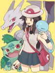 1girl alternate_costume bag black_wristband blue_(pokemon) blue_skirt breasts brown_eyes brown_hair charizard closed_eyes creatures_(company) game_freak gen_1_pokemon hat highres ivysaur long_hair medium_breasts miniskirt nintendo pink_bag pleated_skirt poke_ball pokemon pokemon_(creature) pokemon_(game) pokemon_frlg red_eyes shirt skirt sleeveless sleeveless_shirt smile squirtle super_smash_bros. super_smash_bros._ultimate tank_top white_hat white_shirt white_tank_top wristband yasaikakiage