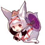 1girl :d absurdly_long_hair animal animal_ear_fluff animal_ears animal_on_head bangs barefoot bird bird_on_head chibi eyebrows_visible_through_hair fox_ears fox_girl fox_tail full_body hair_ribbon holding holding_umbrella long_hair long_sleeves obi on_head open_mouth oriental_umbrella original ponytail purple_umbrella red_eyes red_ribbon ribbon sash silver_hair simple_background smile solo tail tail_raised umbrella very_long_hair white_background wide_sleeves yuuji_(yukimimi)