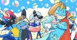 beard cosplay creatures_(company) crossover downscaled dress empoleon facial_hair feraligatr frog game_freak gen_1_pokemon gen_2_pokemon gen_3_pokemon gen_4_pokemon gen_5_pokemon gen_6_pokemon gen_7_pokemon greninja hammer king_dedede king_dedede_(cosplay) king_k._rool king_k._rool_(cosplay) mario mario_(cosplay) md5_mismatch nintendo no_humans poke_ball pokemon pokemon_(creature) primarina princess_peach resized rosetta_(mario) rosetta_(mario)_(cosplay) samurott squirtle sunglasses super_smash_bros. swampert veganswampert wario wario_(cosplay) water
