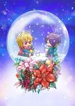 2boys arms_up blonde_hair blue_background blue_jacket chibi closed_eyes commentary_request cup ensemble_stars! flower gradient gradient_background green_scarf hair_between_eyes hair_over_one_eye holding holding_cup holding_lantern holly jacket lantern looking_at_another mug multicolored_hair multiple_boys nito_nazuna open_clothes open_jacket outstretched_legs pants pinecone plaid plaid_pants poinsettia purple_hair red_eyes red_scarf ribbon scarf school_uniform seia_megumu seiza sengoku_shinobu shoes short_hair sitting sleeves_past_wrists snow_globe snowflakes streaked_hair striped striped_ribbon yumenosaki_school_uniform
