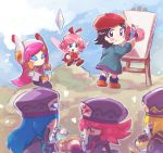 6+girls adeleine apple beret black_hair blonde_hair blue_hair blurry blush_stickers canvas_(object) chiimako closed_eyes crystal depth_of_field eating fairy_wings flamberge_(kirby) food francisca_(kirby) fruit hat hot_dog ice_cream kirby:_star_allies kirby_(series) long_hair maxim_tomato medium_hair multiple_girls nintendo painting parfait pink_hair pudding redhead ribbon_(kirby) sitting standing susie_(kirby) wings zan_partizanne