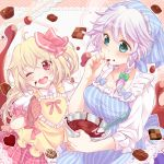 2girls ;d ahoge almond apron arms_up blonde_hair blue_eyes blush bowl braid breasts checkerboard_cookie chocolate chocolate_making cleavage commentary_request cookie finger_licking flandre_scarlet food hair_ribbon head_scarf head_tilt holding holding_bowl izayoi_sakuya licking long_sleeves looking_at_viewer looking_to_the_side medium_breasts mike_(mikenekotei) mixing_bowl multiple_girls no_wings one_eye_closed open_mouth oven_mitts plaid plaid_skirt puffy_short_sleeves puffy_sleeves red_eyes ribbon shirt short_hair short_sleeves side_ponytail silver_hair single_braid skirt sleeves_rolled_up smile striped_apron thumb_to_mouth touhou tress_ribbon two-tone_background upper_body upper_teeth white_shirt yellow_apron