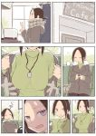 1girl absurdres brown_hair coat comic commentary_request door highres id_card original ponytail rucchiifu scarf sweat sweater turtleneck turtleneck_sweater unbuttoning window winter_clothes winter_coat
