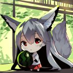 1girl animal_ear_fluff animal_ears bangs barefoot chibi eyebrows_visible_through_hair food fox_ears fox_girl fox_tail fruit hair_between_eyes holding holding_food japanese_clothes kimono long_hair long_sleeves original pleated_skirt red_eyes red_skirt short_kimono silver_hair skirt solo standing tail tail_raised very_long_hair watermelon white_kimono wide_sleeves yuuji_(yukimimi)