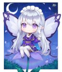1girl :3 animal animal_on_hand bangs blush butterfly_on_finger chibi closed_mouth commentary_request commission crescent_moon eyebrows_visible_through_hair fairy fairy_wings flower flower-shaped_pupils gloves grey_wings hair_between_eyes hand_up jacket long_hair long_sleeves looking_at_viewer minigirl moon night night_sky on_flower original petals pleated_skirt pong_(vndn124) purple_flower purple_jacket purple_skirt signature silver_hair skirt sky solo star starry_background starry_moon thigh-highs very_long_hair violet_eyes white_footwear white_gloves white_legwear wide_sleeves wings
