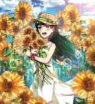 1girl blush clouds cloudy_sky cowboy_shot day dress field flower flower_field getsuyoubi green_eyes green_hair hat hat_ribbon highres hiyajou_maho lens_flare long_hair looking_at_viewer open_mouth ribbon scrunchie sky smile solo steins;gate steins;gate_0 straw_hat sunflower thick_eyebrows white_dress wrist_scrunchie