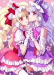 2girls bangs black_legwear blonde_hair blunt_bangs bow cure_amour cure_macherie eyebrows_visible_through_hair gloves hair_bow hand_holding highres hugtto!_precure interlocked_fingers layered_skirt long_hair miniskirt multiple_girls parted_lips precure purple_bow purple_hair purple_skirt red_eyes red_skirt shiny shiny_hair short_sleeves shoulder_cutout skirt smile thigh-highs tsuru_ringo twintails very_long_hair violet_eyes white_gloves white_legwear zettai_ryouiki