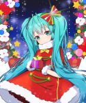 1girl antenna_hair aqua_eyes aqua_hair bangs blush bow box christmas closed_mouth dress eyebrows_visible_through_hair flower fur-trimmed_dress fur-trimmed_mittens gift gift_box glint hair_bow hair_ornament hatsune_miku head_tilt holding holding_gift long_hair looking_at_viewer mittens red_dress red_mittens santa_costume sidelocks solo standing star striped striped_bow tp_(kido_94) turtleneck_dress twintails very_long_hair vocaloid white_flower wreath
