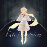 1boy ahoge blonde_hair blue_eyes copyright_name fate/requiem fate_(series) floating highres looking_at_viewer male_focus mysterious_boy_(fate/requiem) sash scarf short_sleeves solo star starry_background toy_airplane