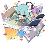 1girl :d abigail_williams_(fate/grand_order) atalanta_(fate) bangs black_footwear black_skirt blush book brown_eyes brown_jacket chair chibi commentary_request dragon_horns eyebrows_visible_through_hair fate/grand_order fate_(series) folding_chair from_above green_hair hair_between_eyes halftone horns jack_the_ripper_(fate/apocrypha) jacket kiyohime_(fate/grand_order) long_hair long_sleeves mash_kyrielight medusa_(lancer)_(fate) milkpanda nursery_rhyme_(fate/extra) open_book open_mouth pleated_skirt rider skirt sleeves_past_wrists smile solo table tamamo_(fate)_(all) tamamo_no_mae_(fate) thigh-highs very_long_hair white_legwear x