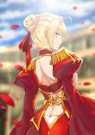 1girl absurdres ahoge blonde_hair blurry blurry_background braided_bun breasts butt_crack c.rabbit fate/extra fate_(series) from_behind green_eyes hair_ribbon highres looking_at_viewer looking_back medium_breasts nero_claudius_(fate) nero_claudius_(fate)_(all) petals red_ribbon ribbon shiny shiny_skin shrug_(clothing) sideboob smile solo standing tied_hair