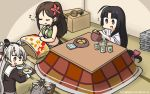 3girls :d ahoge amagi_(kantai_collection) amatsukaze_(kantai_collection) basket black_dress black_hair box brown_eyes brown_hair closed_eyes cup dated dress eighth_note eyebrows_visible_through_hair flying_sweatdrops food fruit gloves green_tea hair_tubes hamu_koutarou highres holding holding_tray japanese_clothes kantai_collection kotatsu long_hair long_sleeves low-tied_long_hair mandarin_orange multiple_girls musical_note open_mouth ponytail rensouhou-kun sailor_dress scissors short_dress shouhou_(kantai_collection) shrimp shrimp_tempura silver_hair smile table tape tatami tea tempura translated tray two_side_up very_long_hair white_gloves windsock yellow_eyes