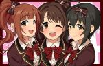 3girls ;d ahoge bangs black_hair blazer blush border bow bowtie brown_eyes brown_hair collared_shirt dot_nose eyebrows_visible_through_hair hair_between_eyes hair_bow hair_intakes idolmaster idolmaster_cinderella_girls idolmaster_cinderella_girls_starlight_stage igarashi_kyouko jacket kohinata_miho long_hair looking_at_viewer looking_to_the_side love_letter_(idolmaster) multiple_girls omaru_gyuunyuu one_eye_closed open_mouth pink_background pink_check_school plaid plaid_bow school_uniform shimamura_uzuki shirt short_hair side_ponytail smile upper_body upper_teeth wing_collar