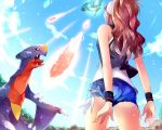 1girl ass black_jacket blue_shorts blue_sky brown_hair creatures_(company) day flygon from_behind from_below game_freak garchomp gen_3_pokemon gen_4_pokemon hat jacket long_hair nintendo open_clothes open_jacket outdoors peaked_cap pokemon pokemon_(game) pokemon_bw shirt short_shorts shorts sky sleeveless sleeveless_shirt torn_clothes torn_shorts touko_(pokemon) white_hat white_shirt z.nov