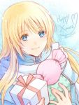 1boy blonde_hair blue_eyes cloak english_text fire_emblem fire_emblem:_rekka_no_ken gift hanasaki_komugi holding holding_gift long_hair looking_at_viewer lucius nintendo smile solo sparkle