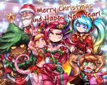 2boys 4girls alternate_costume beard blonde_hair blue_eyes blue_hair box breasts character_request christmas cleavage commentary decorating elbow_gloves english_commentary facial_hair facial_mark fang gift gift_box gloves gradient_hair grin hair_ornament happy_new_year height_difference highres league_of_legends lizard_girl lizard_tail long_hair maokai medium_breasts merry_christmas mittens multicolored_hair multiple_boys multiple_girls neeko_(league_of_legends) new_year orange_hair out_of_frame phantom_ix_row pink_skin poppy red_gloves red_hood santa_claus santa_costume sitting slit_pupils small_breasts smile snow_fawn_poppy sona_buvelle star star_hair_ornament sweatdrop tail thick_eyebrows twintails yordle