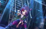 1girl belt boots brown_eyes building cable chains choker drum_(container) eyebrows_visible_through_hair eyepatch frills green_jacket hair_between_eyes hayasaka_mirei horns idolmaster idolmaster_cinderella_girls jacket looking_at_viewer moonlight multicolored_hair night official_art over-kneehighs plaid plaid_skirt purple_hair redhead shirt skirt skull sparkle stairs t-shirt thigh-highs tongue tongue_out torn_clothes torn_legwear two-tone_hair