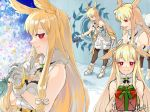 1girl absurdres bell blonde_hair blush boots box christmas christmas_tree commentary_request dress fate/grand_order fate_(series) finger_to_mouth fishnet_top fur-trimmed_boots fur-trimmed_dress fur_trim gift gift_box hair_ribbon head_wings highres holding holding_bell holding_box holding_gift long_hair looking_at_viewer mithurugi-sugar multiple_views pantyhose red_eyes ribbon ring_the_bell short_dress sleeveless sleeveless_dress smile solo thrud_(fate/grand_order) twitter_username valkyrie_(fate/grand_order) very_long_hair white_dress white_footwear white_ribbon