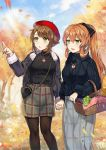 2girls aran_sweater bag bangs beret blue_sky blush breasts brown_hair brown_legwear casual coat commission day earrings eyebrows_visible_through_hair fur-trimmed_coat fur_trim gijang girls_frontline green_eyes hair_between_eyes hair_ribbon hair_rings handbag hat highres jewelry kantai_collection large_breasts long_hair looking_afar m1903_springfield_(girls_frontline) multiple_girls mutsu_(kantai_collection) open_mouth outdoors pantyhose picnic_basket pointing ponytail red_hat ribbed_sweater ribbon ring short_hair sidelocks skirt sky smile sweater tree turtleneck turtleneck_sweater wedding_band