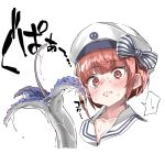 1girl bangs blush brown_eyes brown_hair closed_mouth commentary_request ebifurya eyebrows_visible_through_hair hair_between_eyes hat highres kantai_collection looking_at_viewer peaked_cap sailor_hat short_hair simple_background solo suggestive_fluid surprised sweatdrop white_background white_hat z3_max_schultz_(kantai_collection)