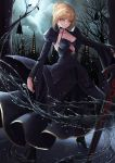 1girl absurdres artoria_pendragon_(all) black_footwear black_skirt blonde_hair breasts cleavage clouds cloudy_sky dark_excalibur eyebrows_visible_through_hair fate/stay_night fate_(series) formal full_body high_heels highres long_skirt long_sleeves medium_breasts nekobell night outdoors outstretched_arm saber_alter shrug_(clothing) sideboob skirt skirt_suit sky solo standing suit tied_hair yellow_eyes